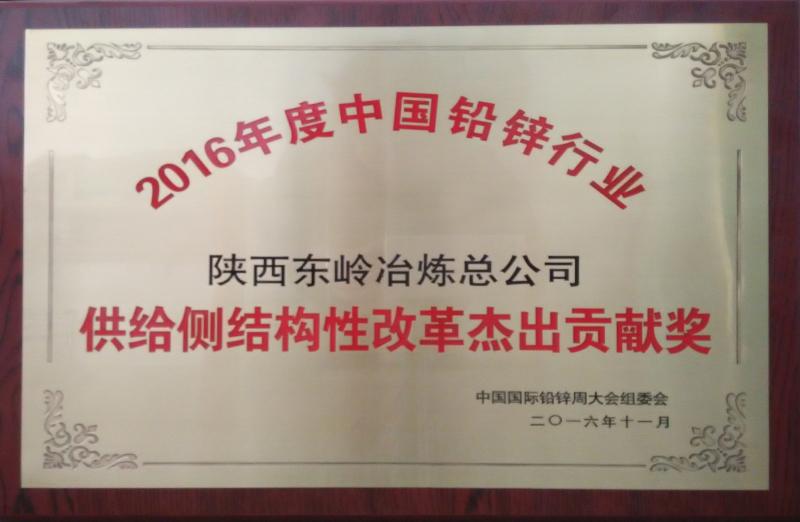 中国铅锌行业供给侧结构性改革杰出贡献奖
